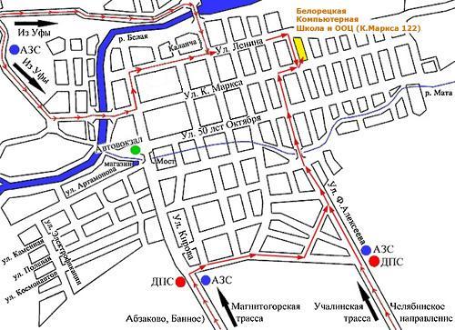 Схема проезда по г.Белорецку